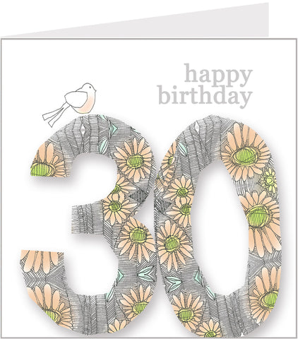 Daisy Bird 30th Birthday Card