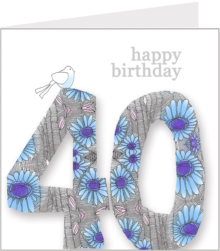 Daisy Bird 40th Birthday Card