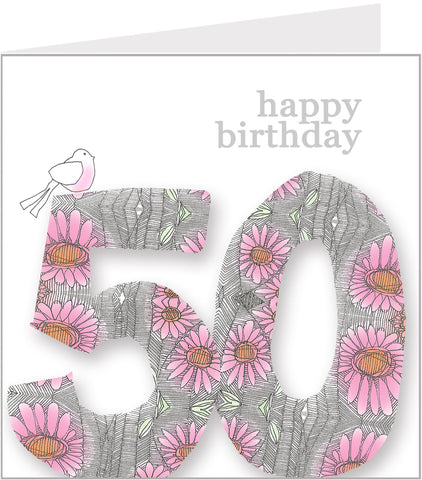 Daisy Bird 50th Birthday Card