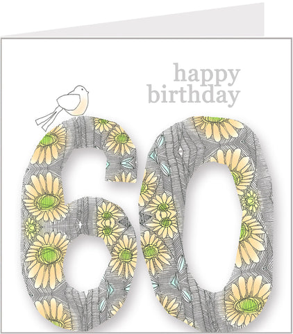 Daisy Bird 60th Birthday Card