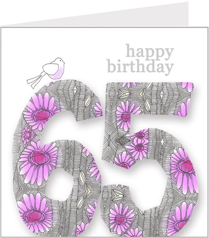 Daisy Bird 65th Birthday Card