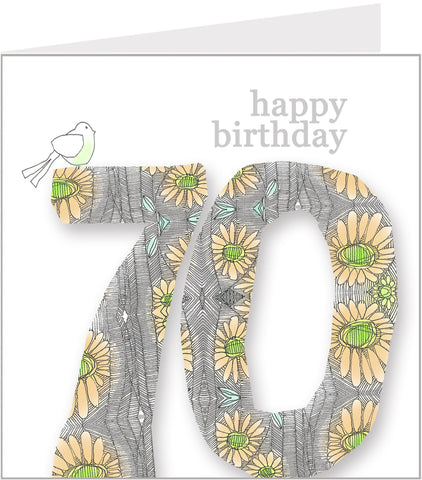 Daisy Bird 70th Birthday Card