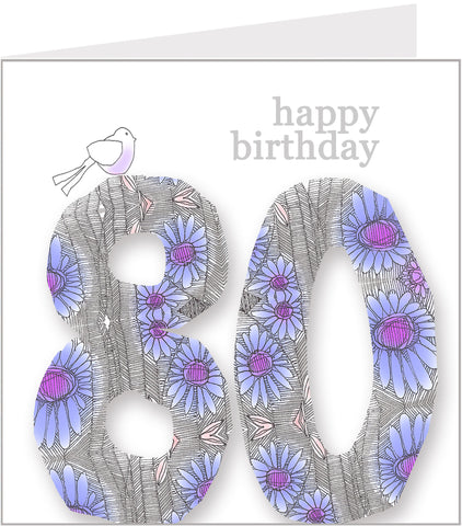 Daisy Bird 80th Birthday Card