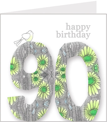 Daisy Bird 90th Birthday Card