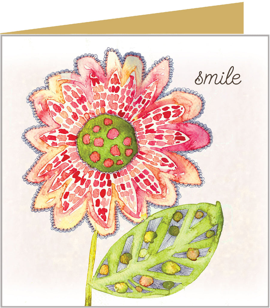 Greetings card with bold sunflower and on the front reading 'Smile' and blank inside.