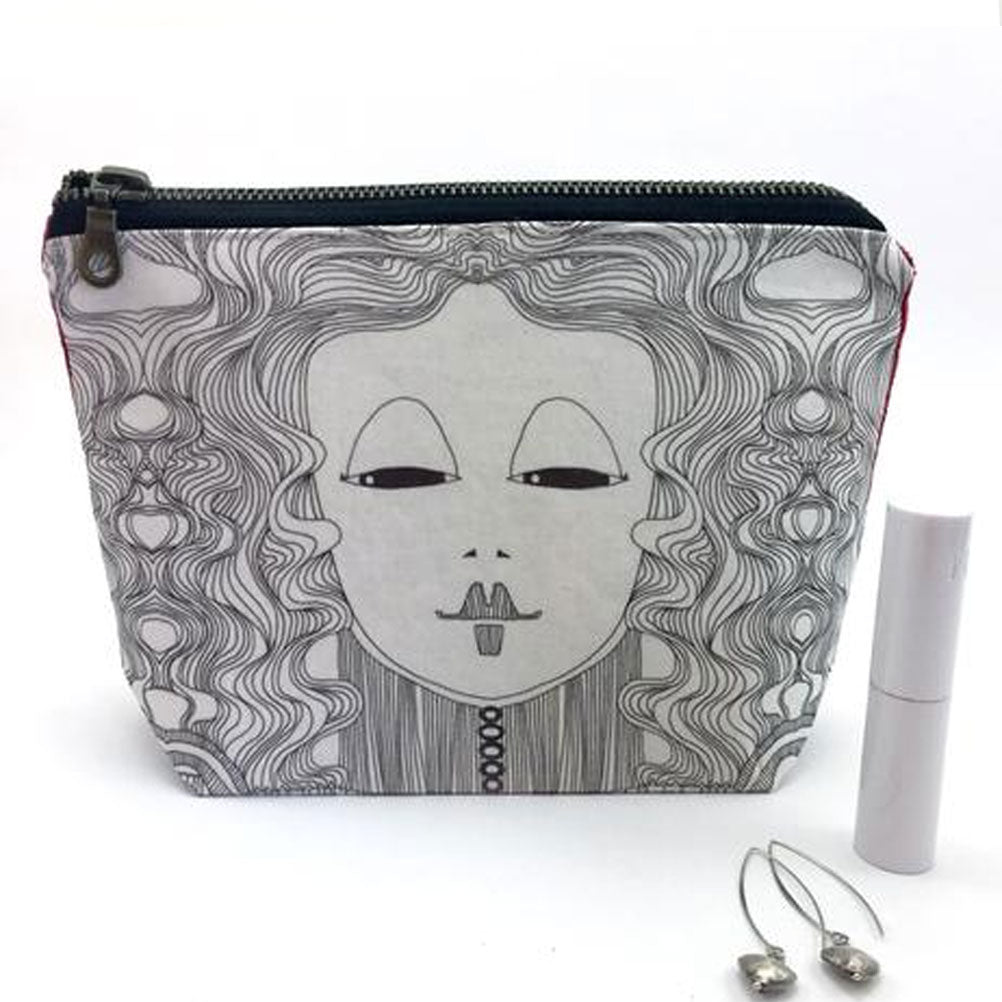 black and whtie make up bag