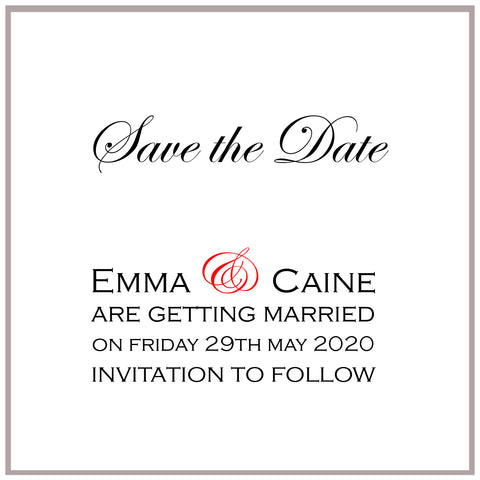 Custom order for Emma Sees, Save the Date