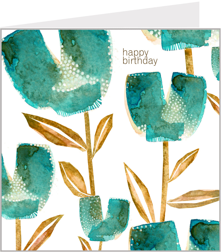 turquoise tulips birthday card