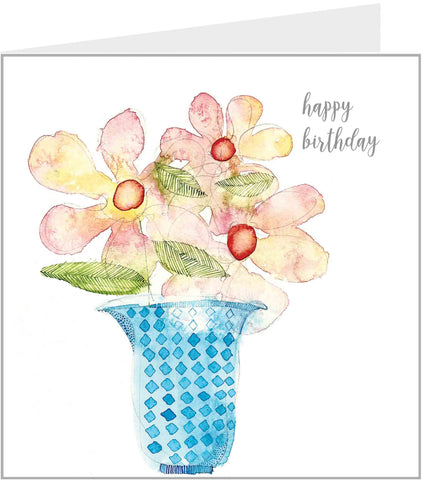 Blue Vase with Flowers birthday card