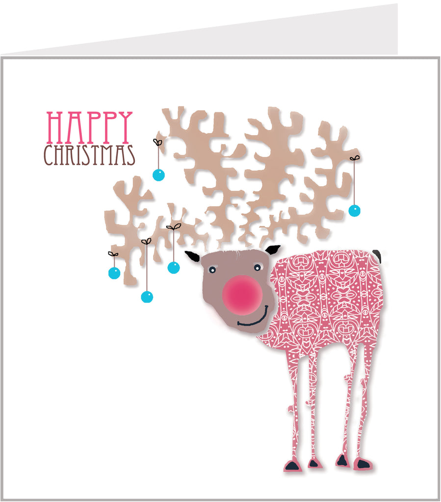 Lacy Reindeer christmas card