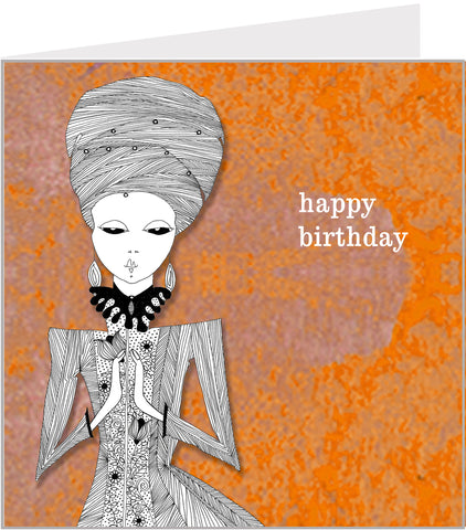 birthday card with pretty lady