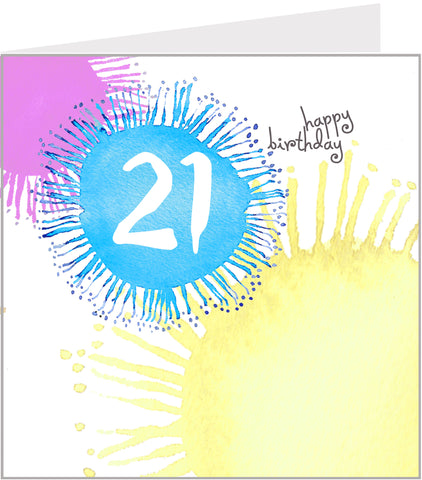 Splashes 21st birthday card