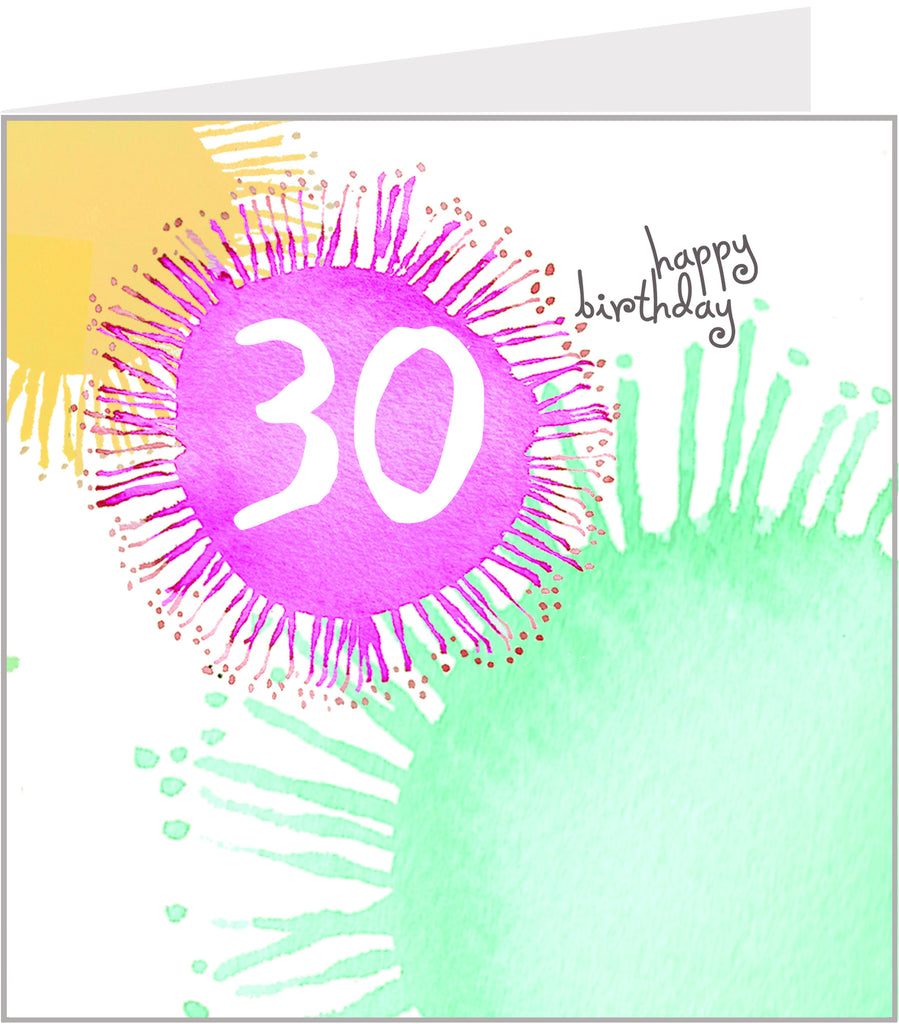 colourful 30th birthday card