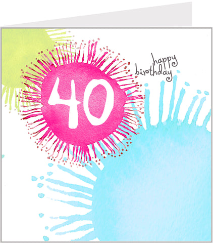 colourful 40th birthday card
