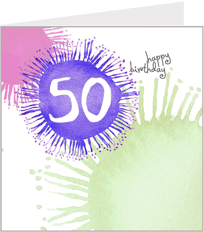 colourful 50th birthday card