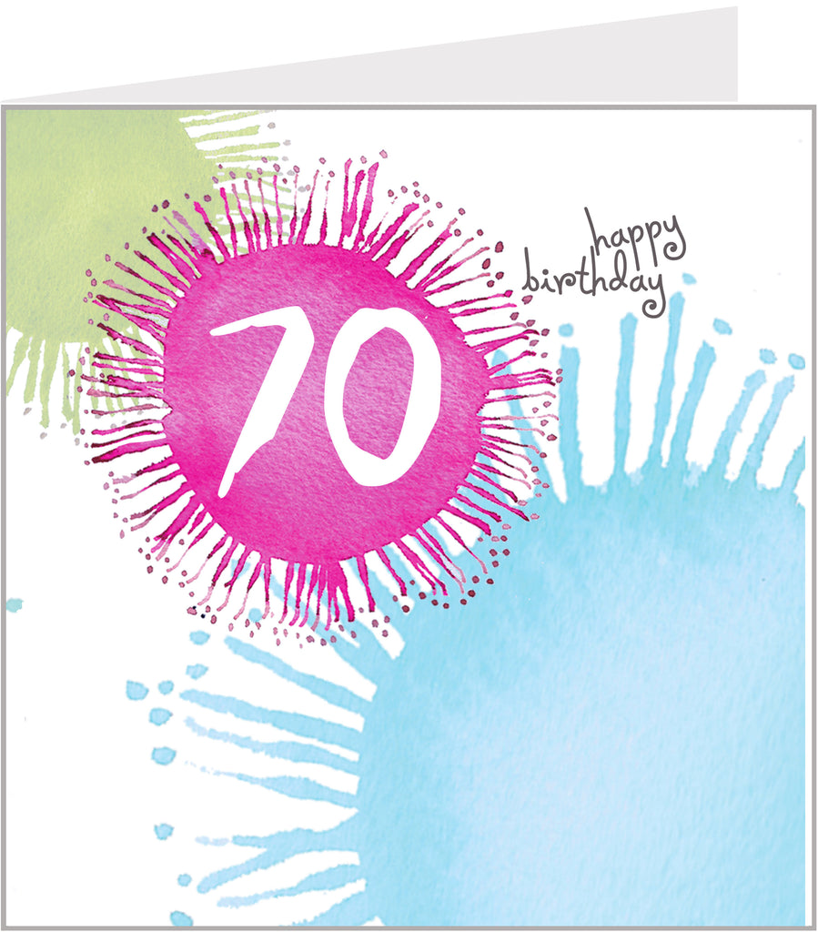 colourful 70th birthday card