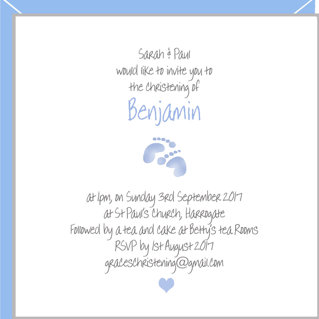 personalised christening invitations for boys with blue footprints