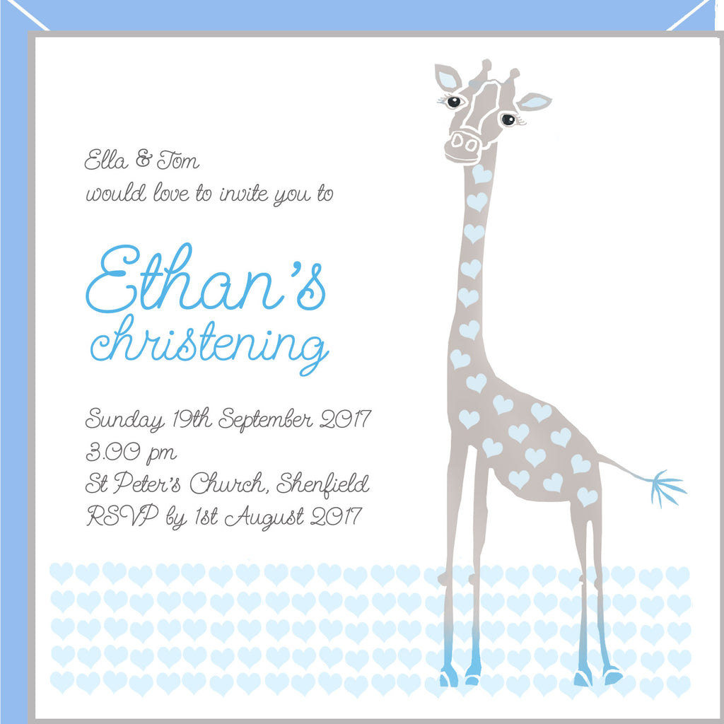 christening invitations with blue giraffe