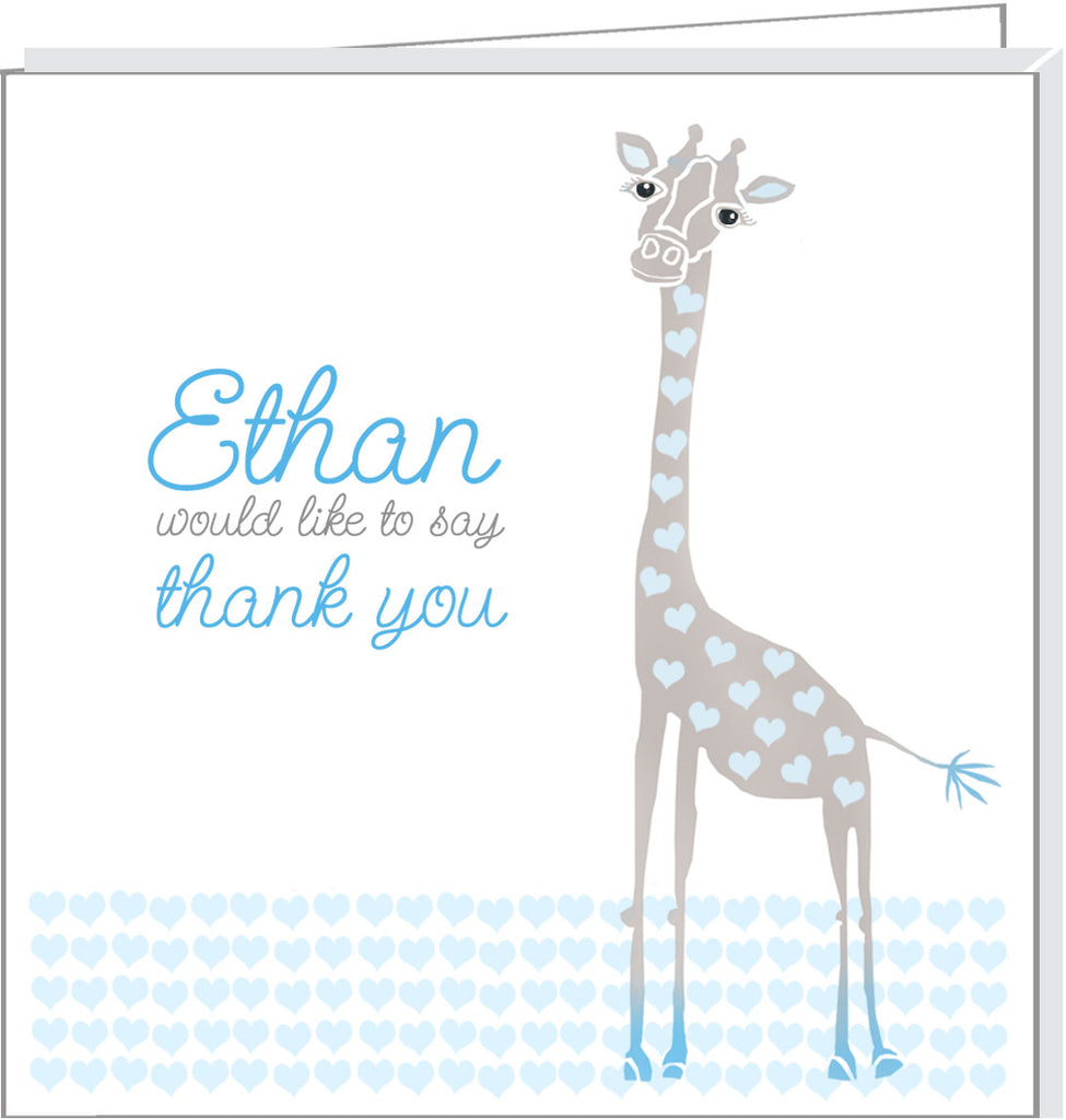 Personalised thank you cards with cute Giraffe illustration