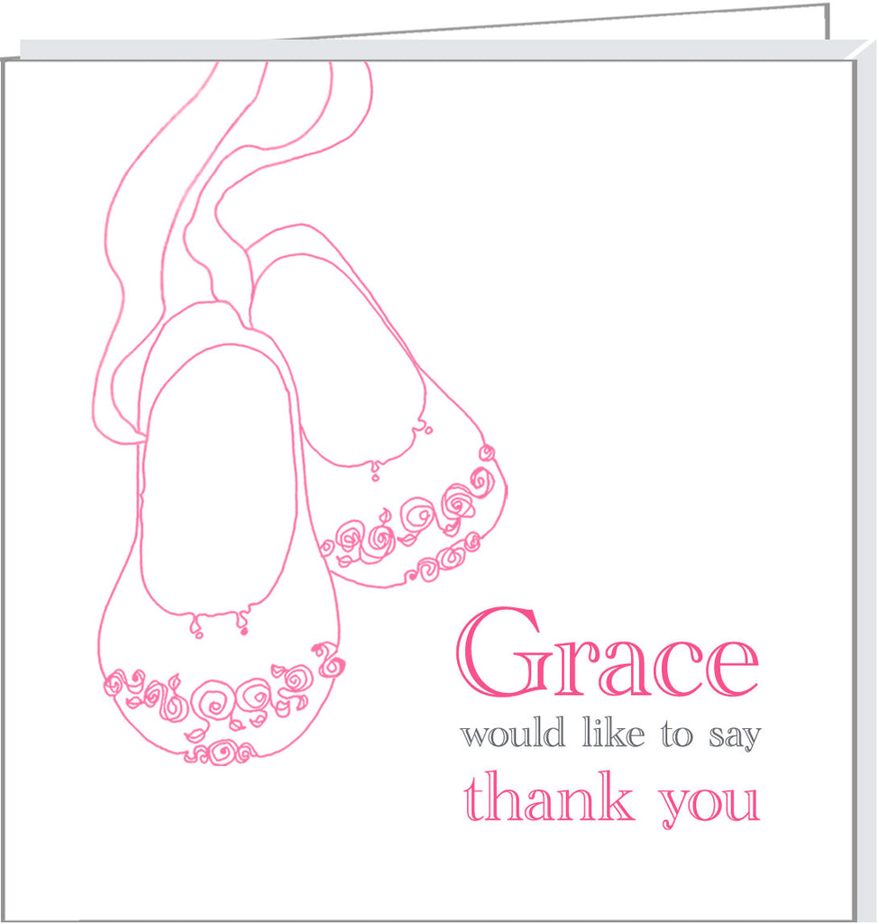 9239b855499c Personalised thank you cards with pink baby shoes – Valerie Valerie