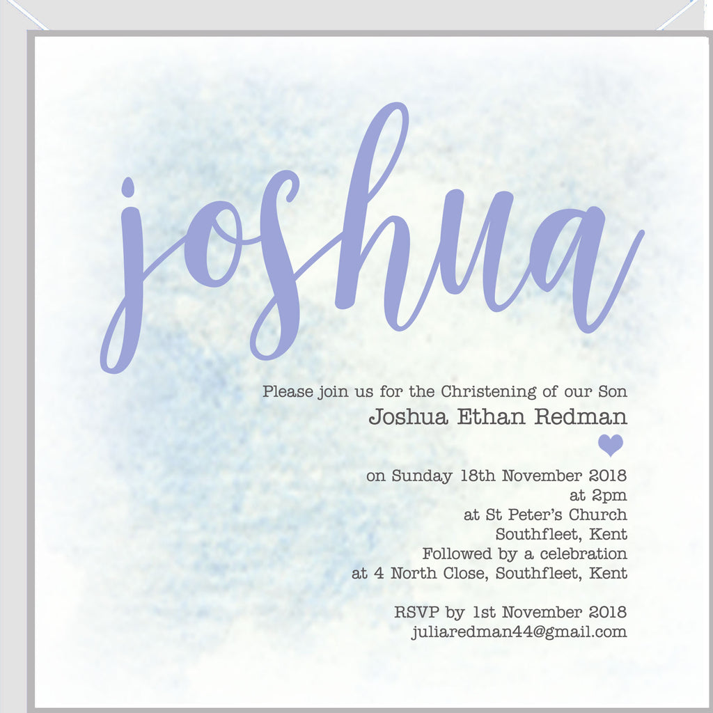 Personalised christening invitations with Blue Script Name
