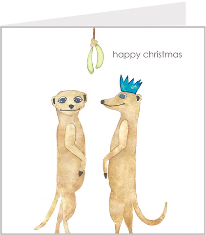 Meerkats & Mistletoe Christmas card