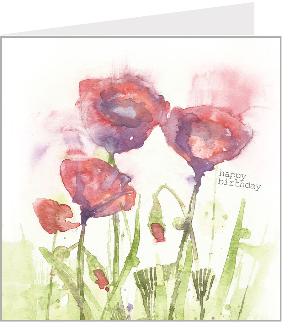 poppies watercolour birthday card