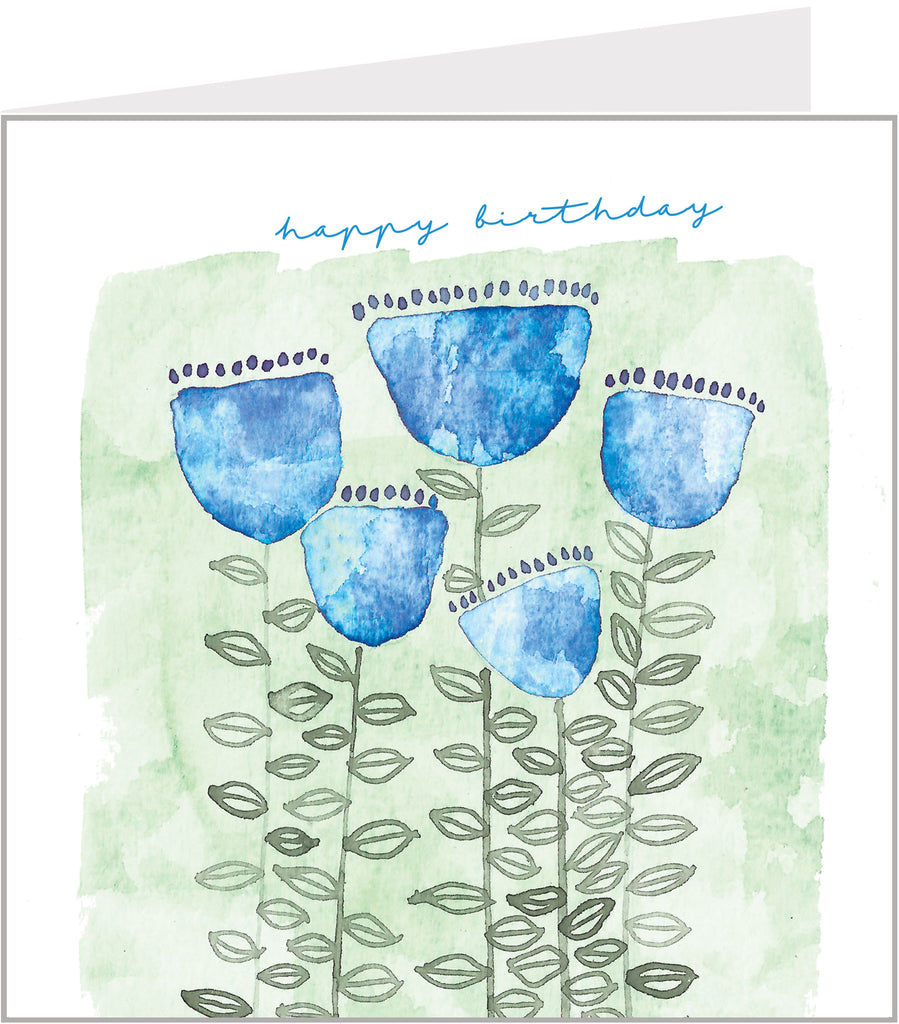 birthday card with blue flowers