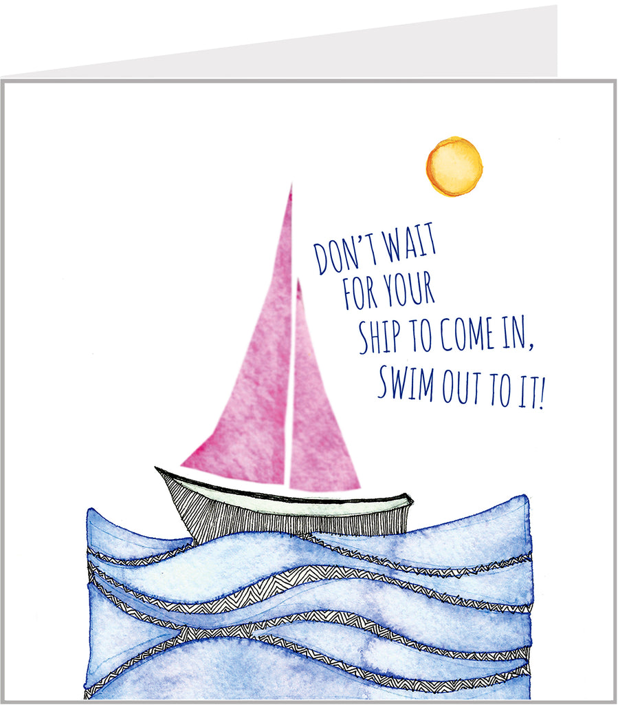 Greetings card with sailing boat