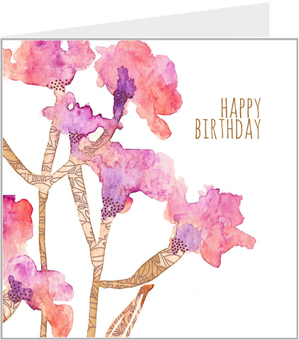 Birthday Card, Stems with Blossom