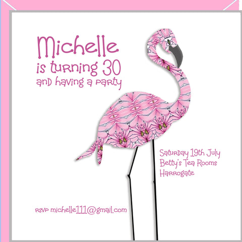 personalised flamingo party invitations