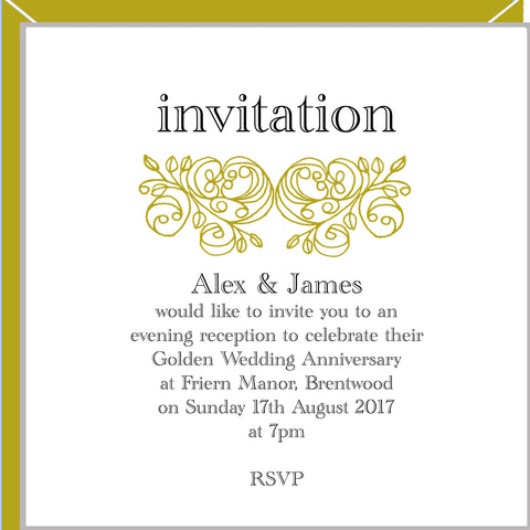 personalised golden wedding invitations