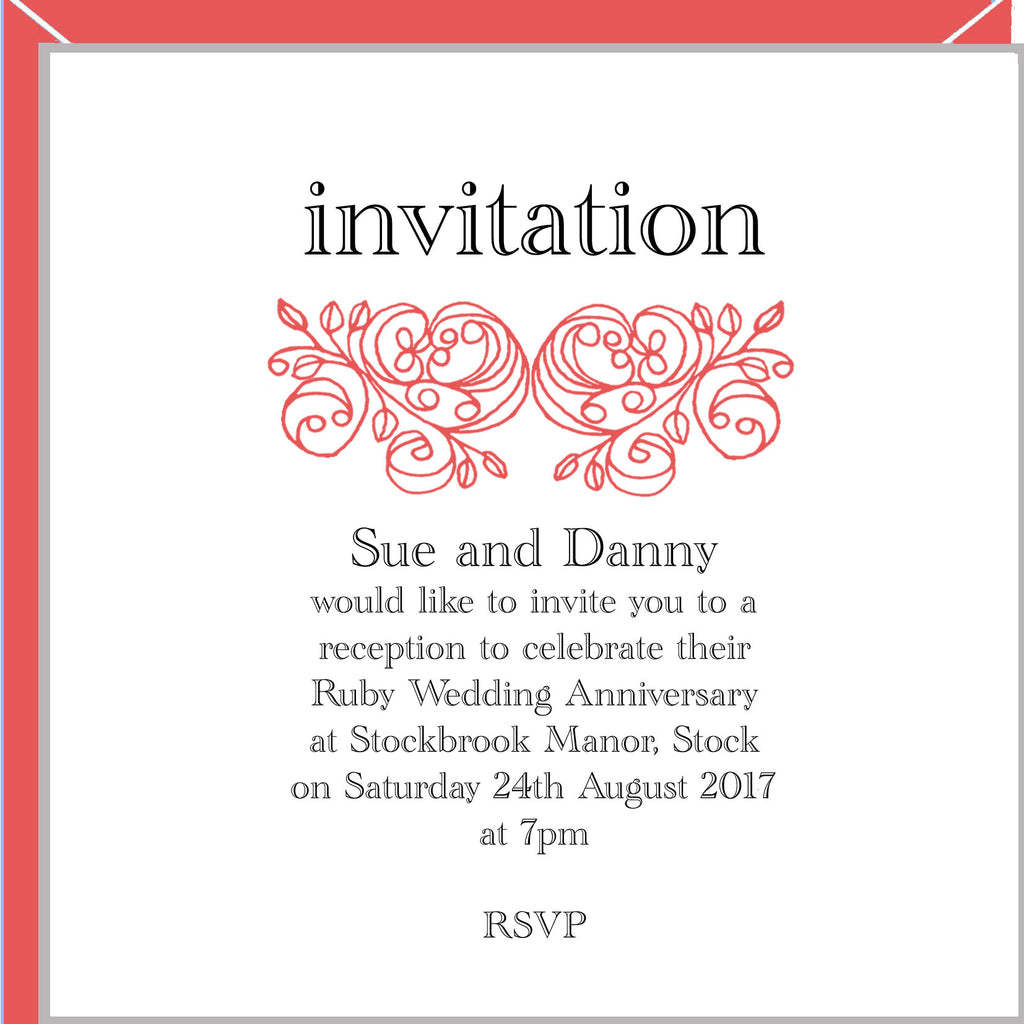 personalised ruby wedding invitations