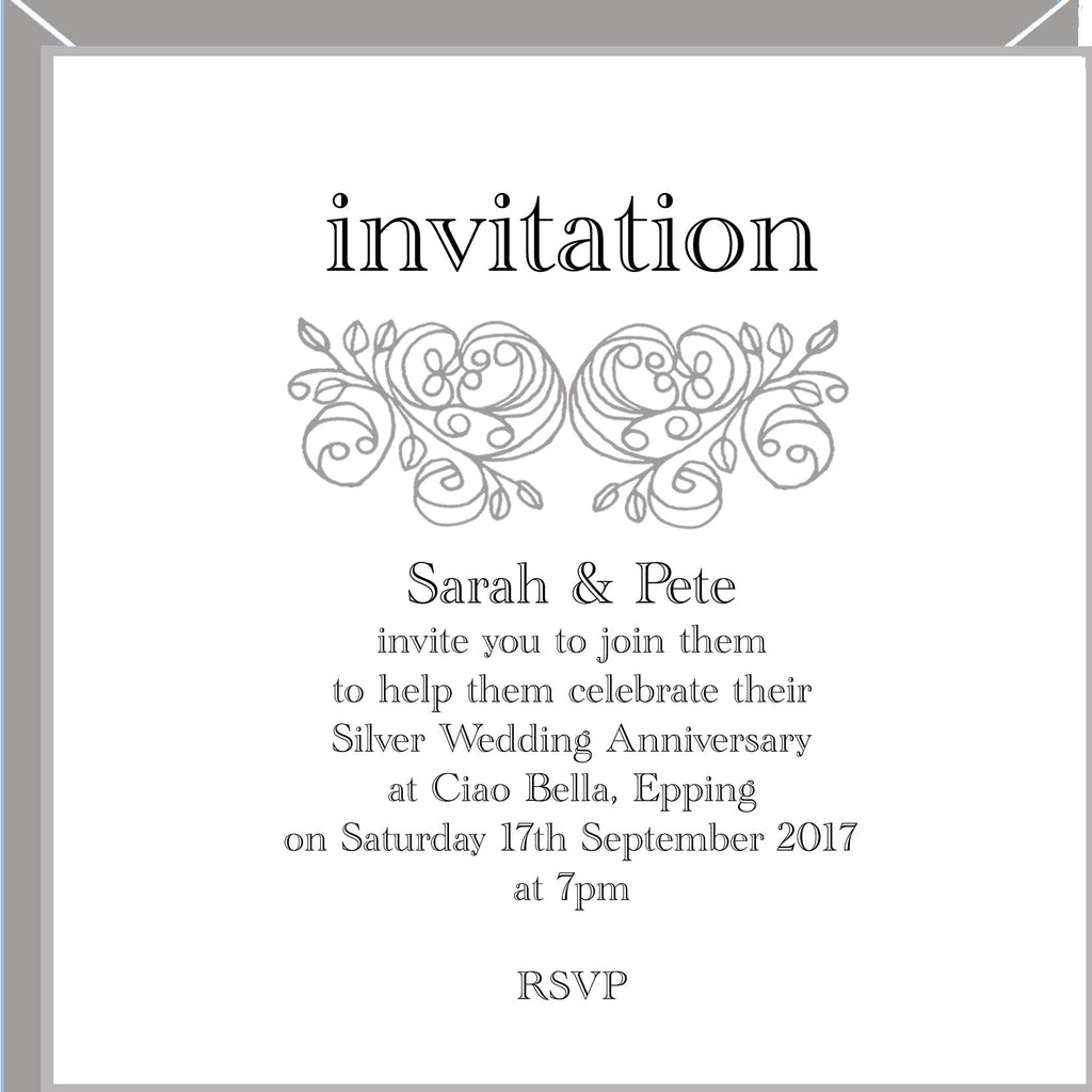 personalised silver wedding anniversary invitations valerie valerie