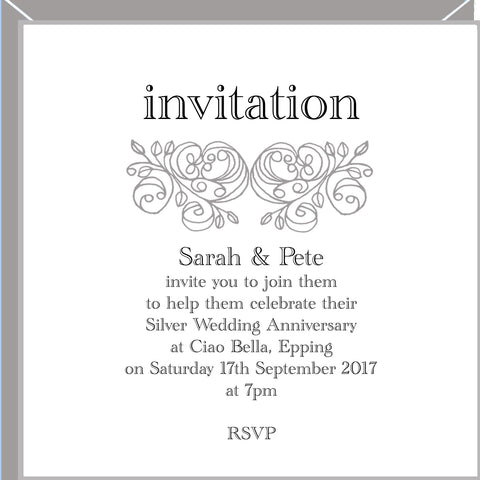 personalised silver wedding invitations