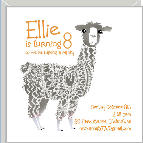 personalised party invitations with llama
