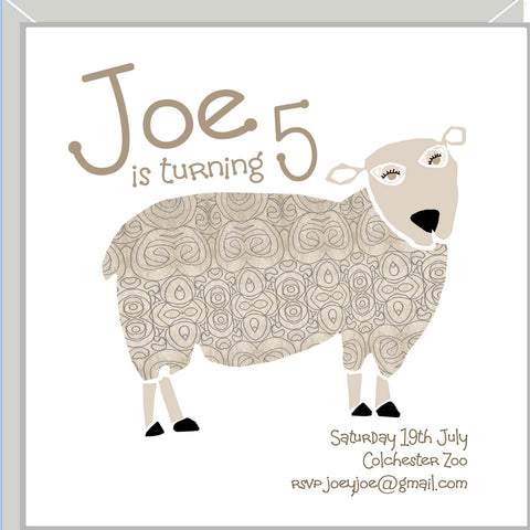 personalised party invitations with sheep
