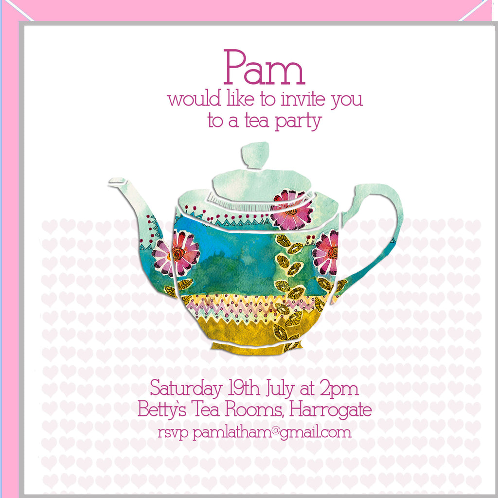 Personalised party invitations with Teapot – Valerie Valerie