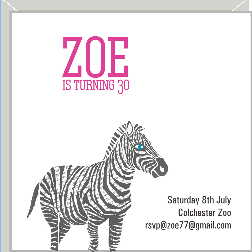 Personalised zebra party invitations