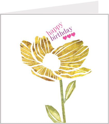 Watercolour Buttercup birthday card