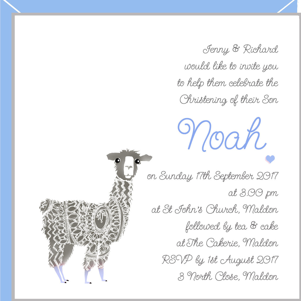 boys christening invitations with llama