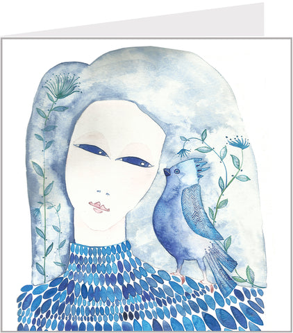 Whispering Blue Bird greetings card