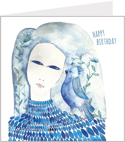birthday card with blue bird and girl