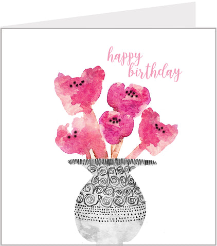 Birthday card, Vase with Pink Poppies