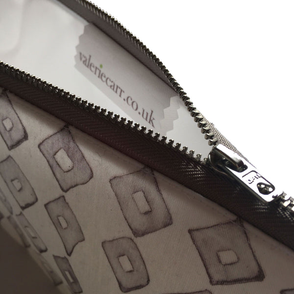 Grey Diamonds zipper pouch