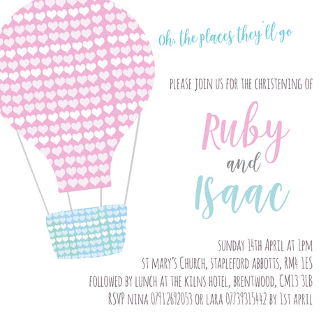 Custom Order for Lara - Christening invitations for Ruby & Isaac