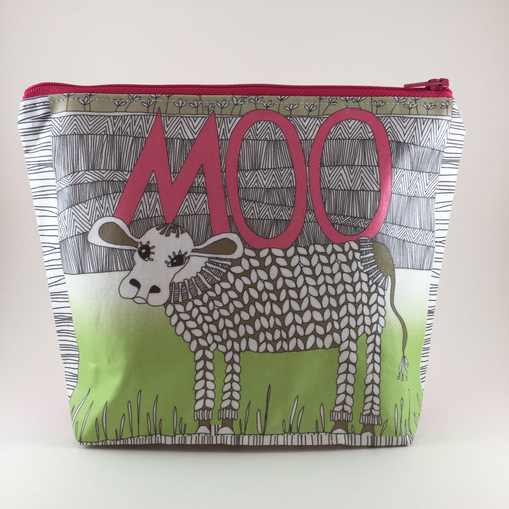 Handmade Zipper Travel Bag with Moo Cow Design