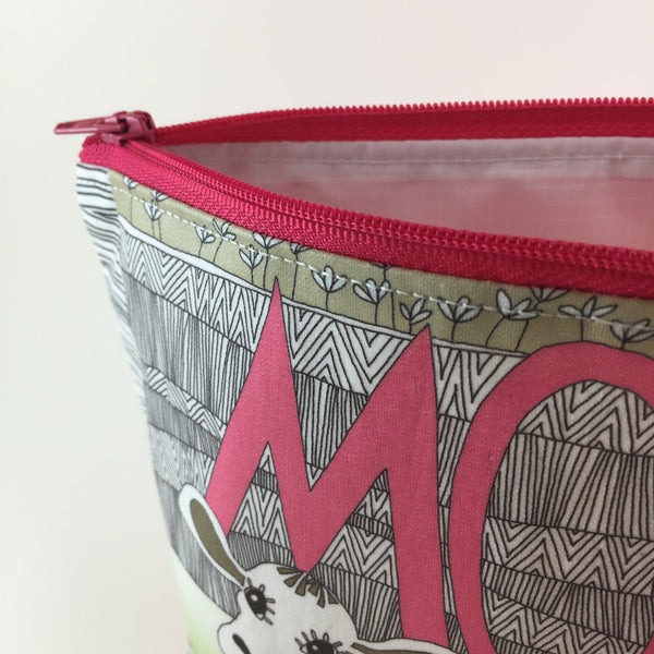 Handmade Zipper Wash Bag with Moo Cow Design