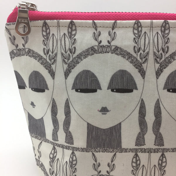 black and white make up bag