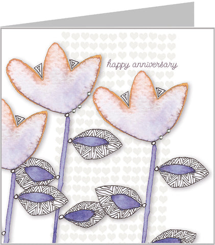 Peach Lotus Anniversary Card by Valerie Valerie